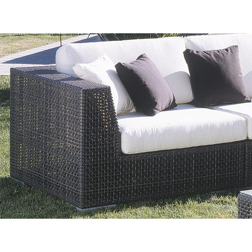 Hospitality Rattan Soho Patio Corner Lounge Chair with Cushion
