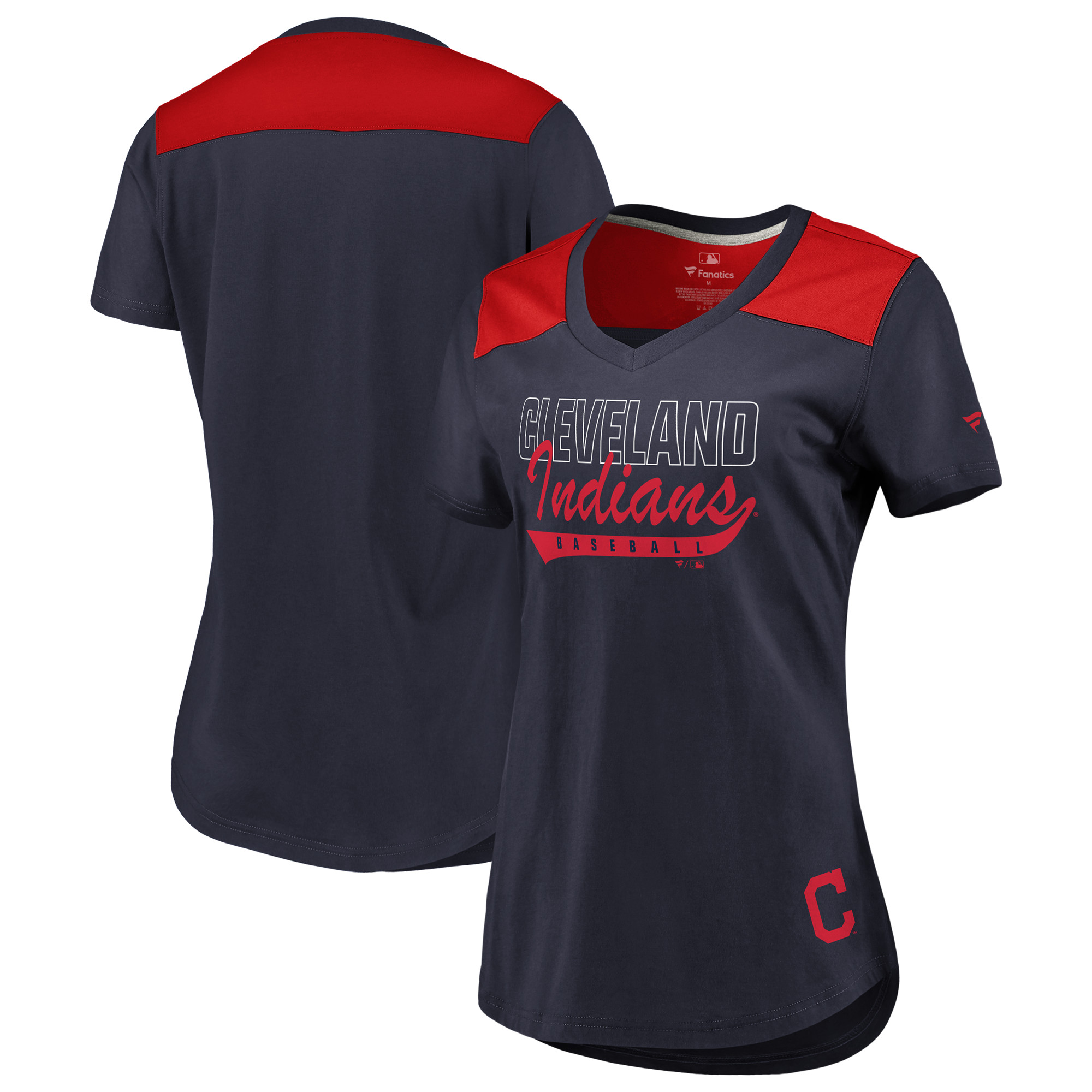 Cleveland Indians Fanatics Branded Women's Iconic V-Neck T-Shirt - Navy/Red