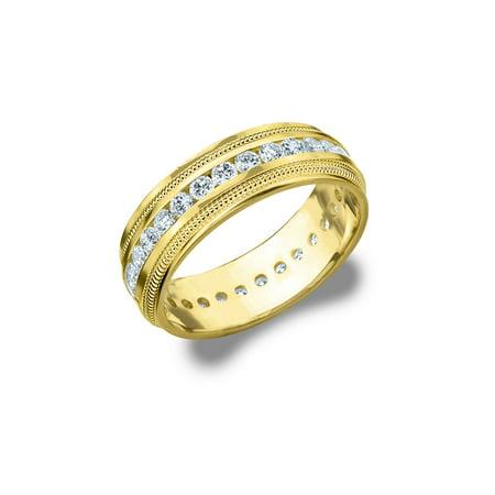 - 1.0 CTTW Diamond Men's Wedding Band in Yellow Gold, 1 Carat Diamond Eternity Ring for Him