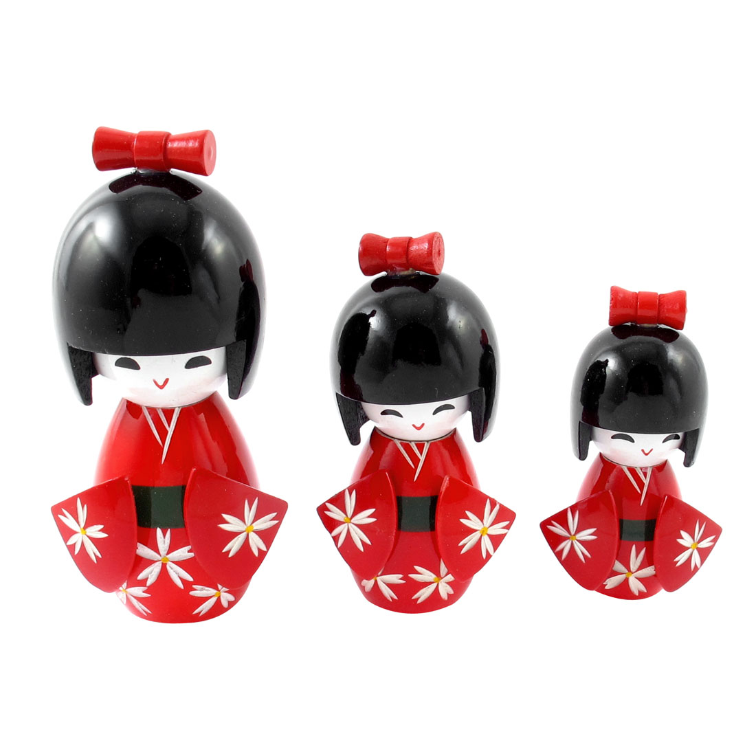 Unique Bargains 3Pcs Red Black Wooden Japanese Doll Desk Desktop Decoration