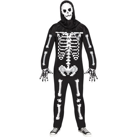 Monster Inc Adult Costume (Adults Men's Game Over Guy Pixel Skeleton Enemy Monster Costume Costume XL)