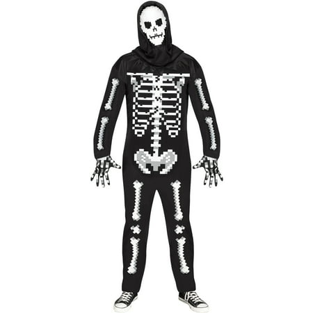 Adult's Mens Game Over Guy Pixel Skeleton Enemy Monster Costume