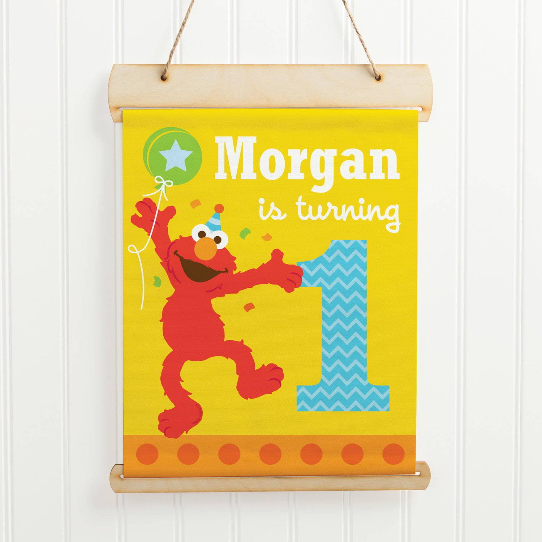 Personalized Sesame Street Elmo Hanging Birthday Sign