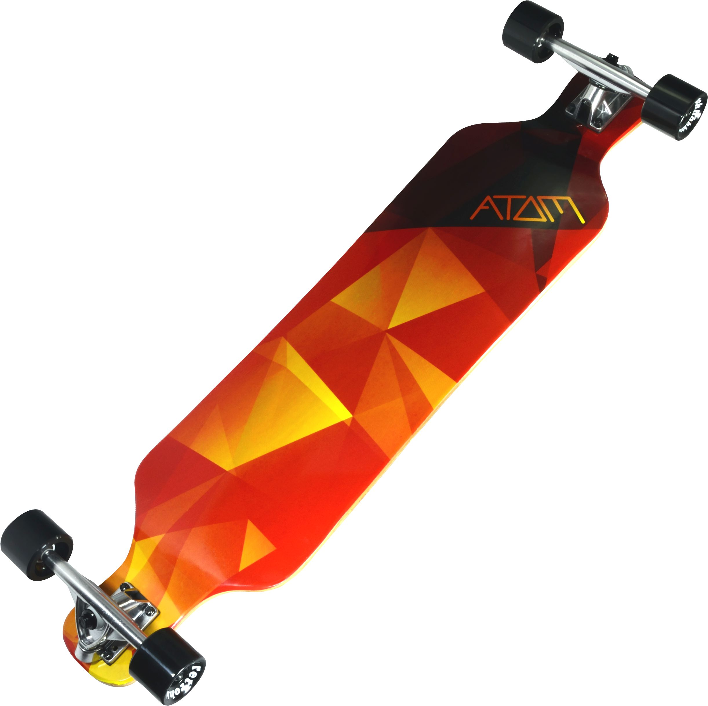 Atom Drop Deck Longboard 39 Inch (Orange Geo) by Atom