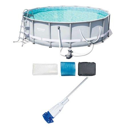 Bestway 16-Foot Steel Frame Pool Set + Aqua Powercell Handheld Pool (Best Way To Clean A Carpet By Hand)