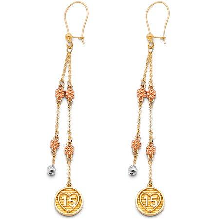 Ioka - 14K Tri Color Gold 15 Anos Quinceanera Circle Dangle Hanging Drop Shepherds Hook Earrings