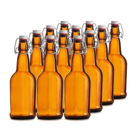 Chef's Star CASE OF 12 - 16 oz. EASY CAP Beer Bottles - AMBER - Halloween Wine Bottles