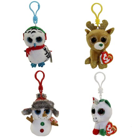 TY Beanie Boos - Set of 4 Christmas 2018 Releases (Buttons, Nester, Glitzy & Candy Cane)(Key Clips)