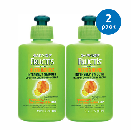 (2 Pack) Garnier Fructis Sleek & Shine Intensely Smooth Leave-In Conditioning Cream 10.2 FL OZ