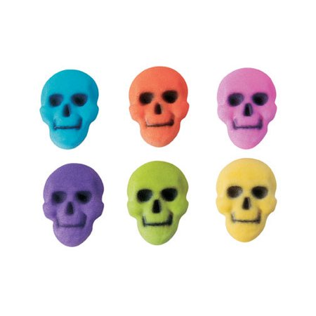 Skull Colored Assortment Sugar Decorations Toppers Cupcake Cake Cookies 12 Count Halloween](Halloween Cupcakes And Cake Ideas)
