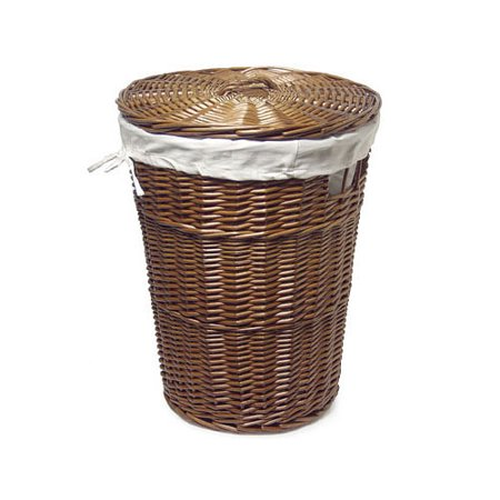 Large Wicker Hamper With Lid Cherry