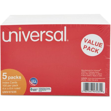 Adhesive Ruled Index Cards ((2 Pack) Universal Ruled Index Cards, 4 x 6, White, 500/Pack -UNV47235)