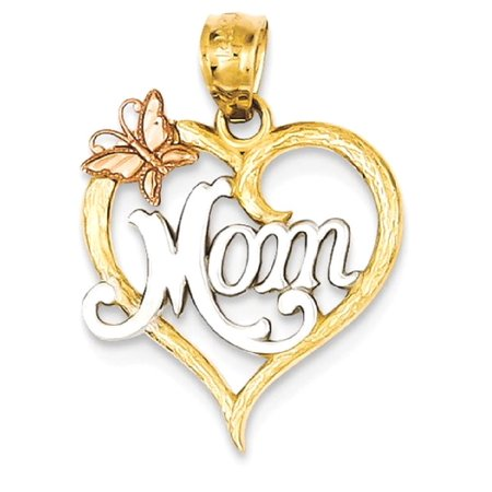 Icecarats 14K Two Tone Yellow Gold Mom Heart Pendant Charm Necklace  Love  Fine Jewelry Gift Valentine Day Set For Women Heart