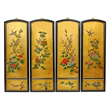 Golden Birds and Flowers Wall Plaques