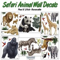 Safari Animal Wall Decals- (30) Jungle Animal Wall Stickers For Kids Room Decor