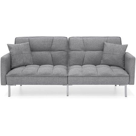 Best Choice Products Convertible Linen Splitback Futon Sofa Couch Furniture w/ Tufted Fabric, Pillows - Dark Gray Dark Cherry Futon Frame