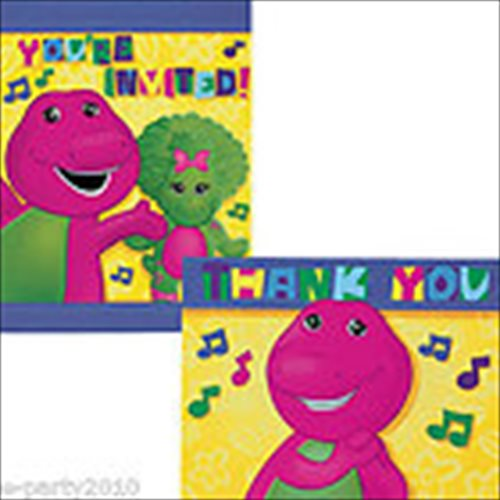 Barney and Friends Invitations and Thank You Notes w/ Env. (8ct ea.)