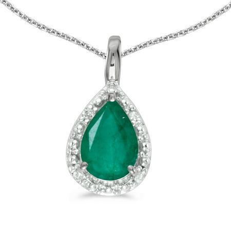 Pear Emerald Pendant - 10k White Gold Pear Emerald Pendant with 16