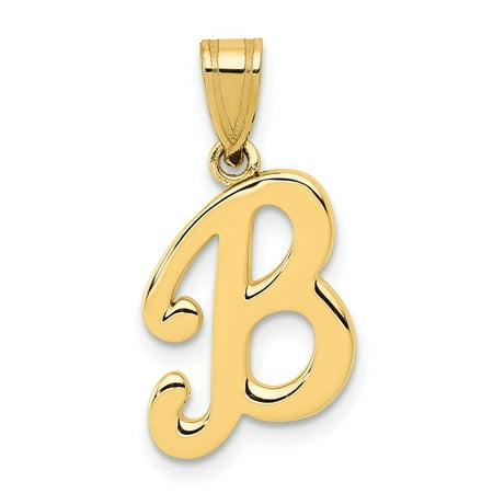 Solid 14k Yellow Gold B Script Initial Letter Pendant Alphabet Charm - 18mm x 12mm Pave Alphabet Initials Pendant