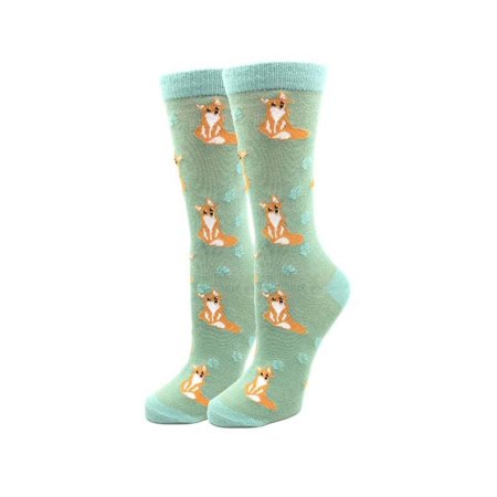 Fox Dots One Size Fits Most Green Ladies Crew Socks