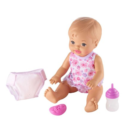 Little Mommy Drink & Wet Feeding and Changing Doll, Light Brown Hair