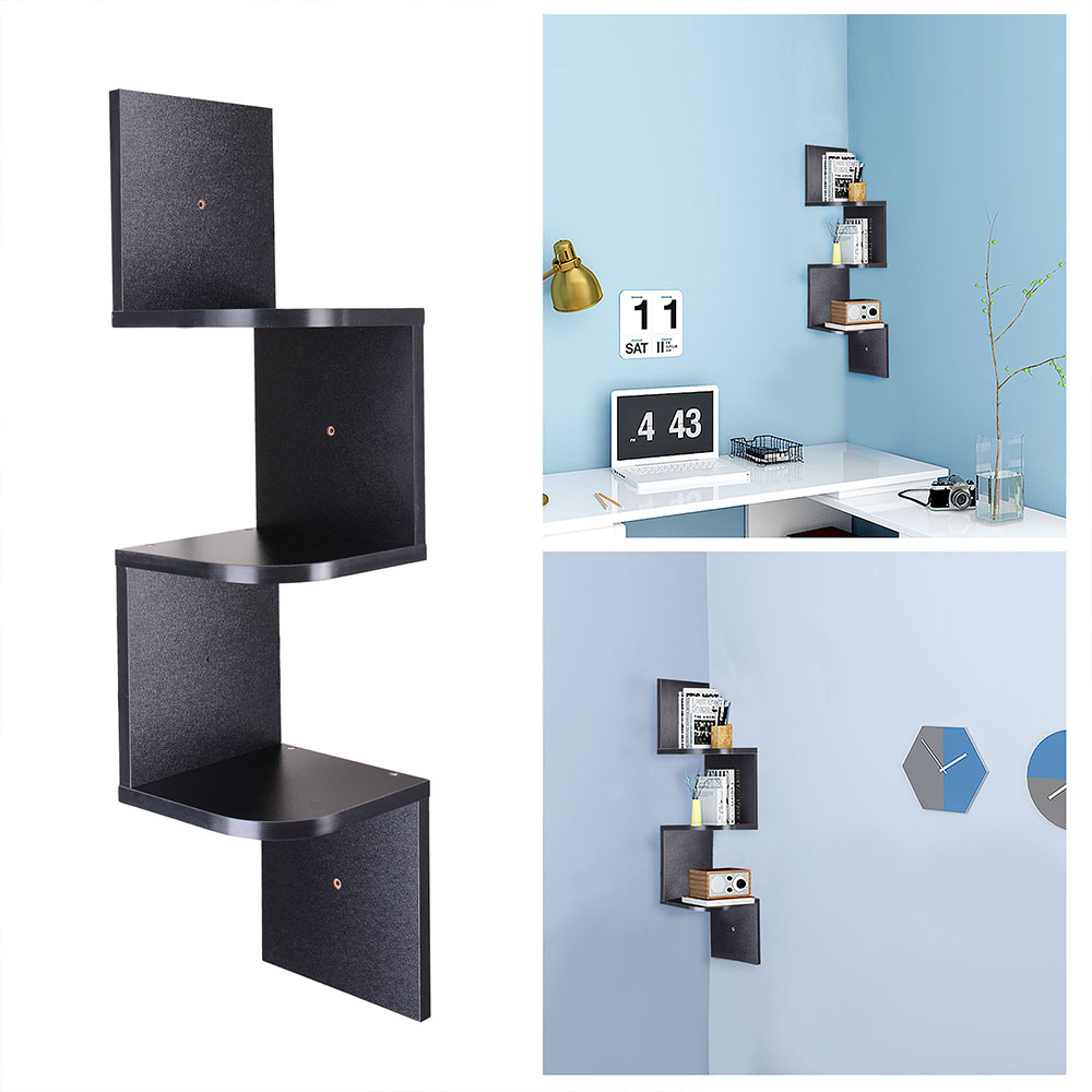 Yescom 3 Tiers Wall Mount Corner Shelf Wood Storage Organizer w/ Gradienter Home