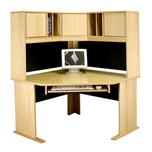 Rush Furniture Modular Real Oak Wood Veneer Corner Desk with Hutch