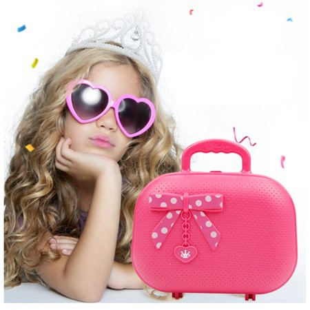Kids Pretend Play Makeup Cosmetic Kit with Bow-Toy makeup bag-Non-toxic material pink