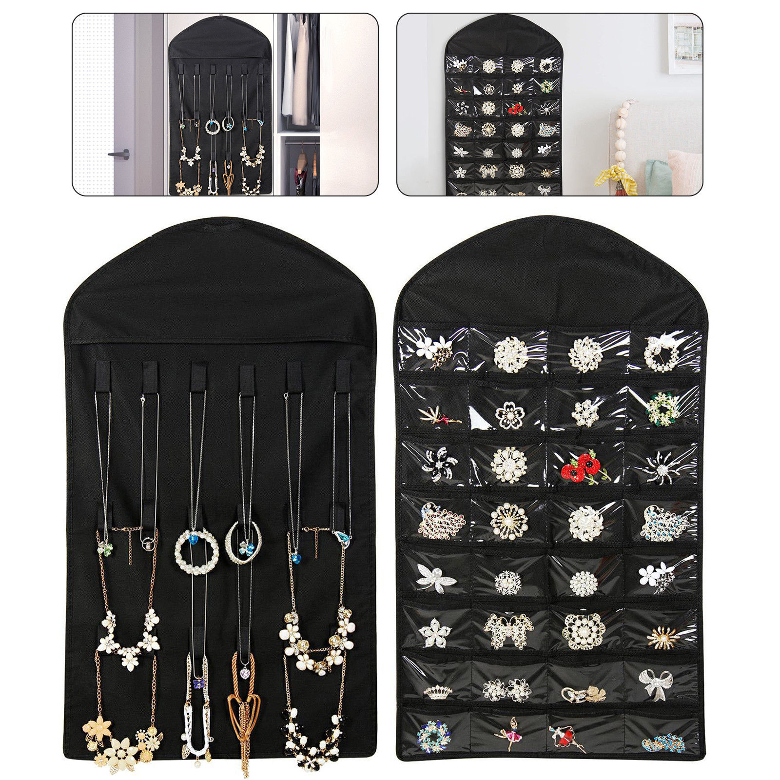EEEKit Jewelry Hanging Non-Woven Organizer Holder 32 Pockets 18 Hook and Loops Black