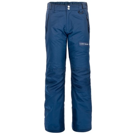Snow Ski Pants for Kids with Reinforced Knees and Seat by Lucky Bums, Navy, Large ()