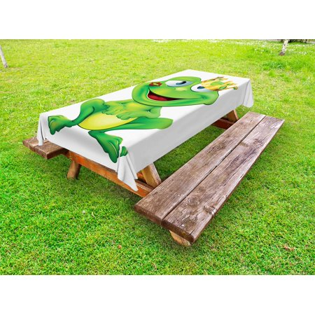 Animal Outdoor Tablecloth, Cute Frog Prince Cartoon Character with Gold Crown Lipstick Mark on His Lips Love, Decorative Washable Fabric Picnic Table Cloth, 58 X 84 Inches,Multicolor, by - Prince Wall Cloths