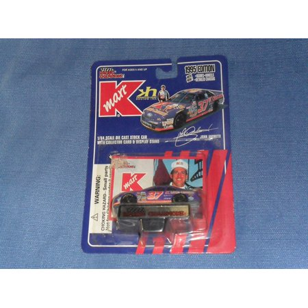 1995 Nascar       John Andretti  37 Kmart Ford Thunderbird 1 64 Diecast       Includes Collectors Card And Display Stand  By Racing Champions