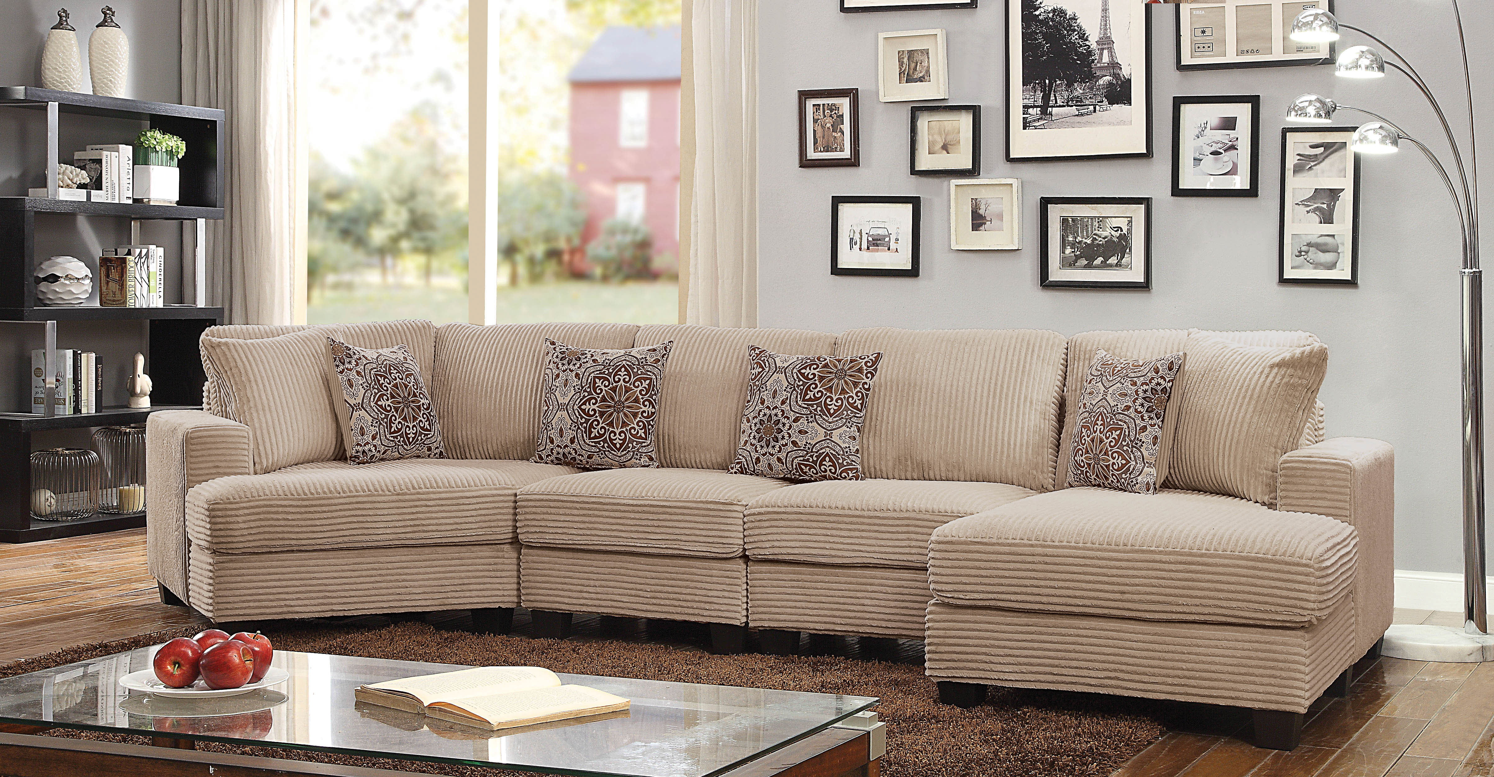 Furniture Of America Timmons Wide Wale Corduroy Sectional Sofa