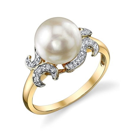 14k Akoya Ring (8.5-9.0mm Akoya Cultured Pearl & Diamond Crown Jewel Ring in 14K Gold)