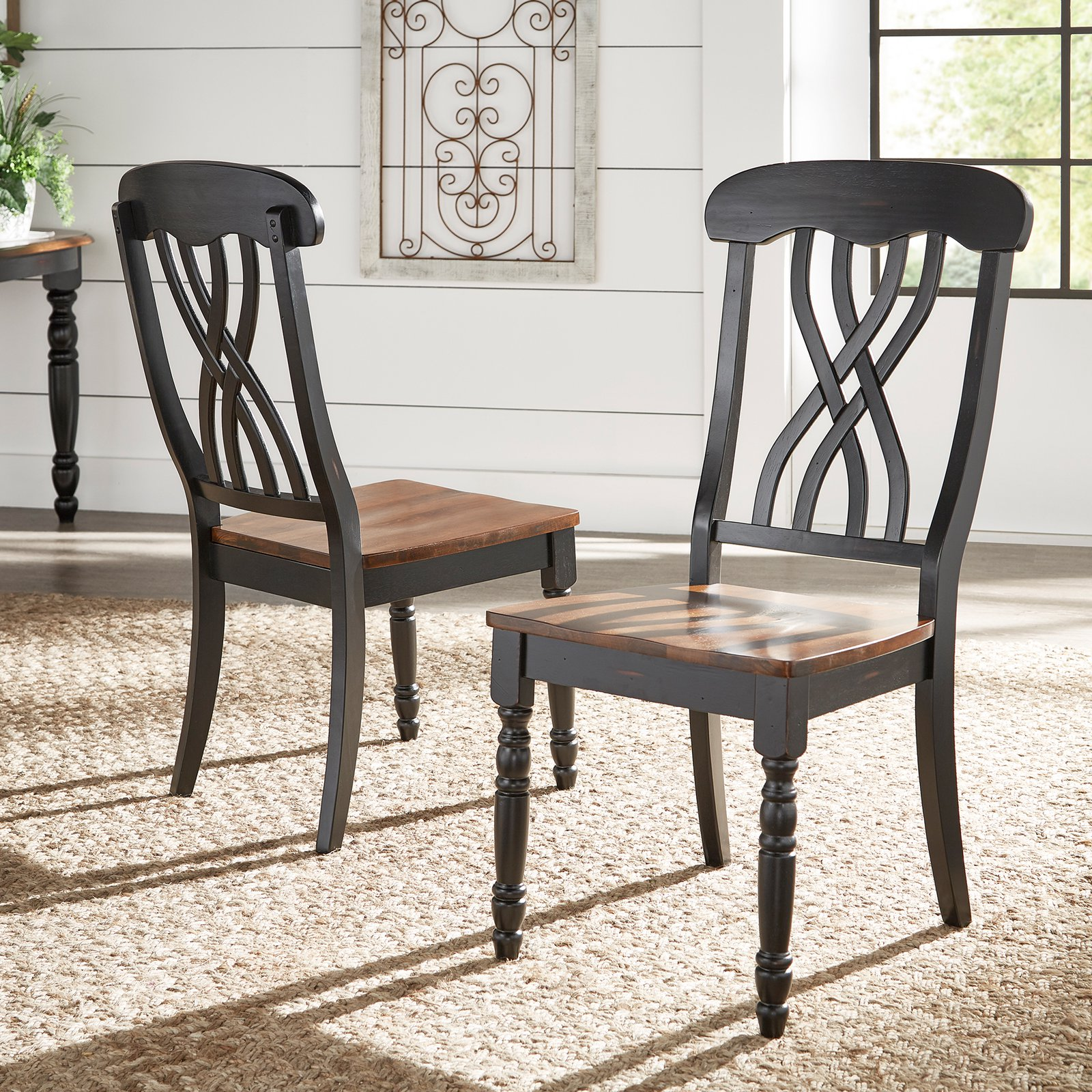 Weston Home Ohana Two Tone Dining Side Chair Set of 2 by Top-Line Furniture Warehouse