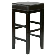 """30"""" Square Red Faux Leather Barstool with Espresso Legs"""