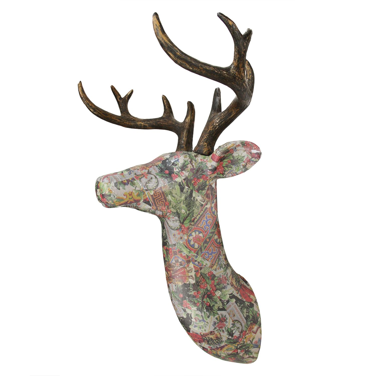 "23.5"" Victorian Holly Berry Decoupage Stag Deer Reindeer Wall Hanging"