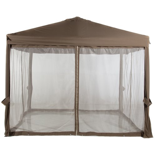 Abba Patio 10x10 Feet Fully enclosed Garden Canopy with Mesh Insect Screen - Brown