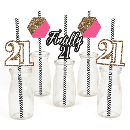 21st Birthday Cookies - Finally 21 Girl - 21st Birthday - Paper Straw Decor - Birthday Party Striped Decorative Straws - Set of 24