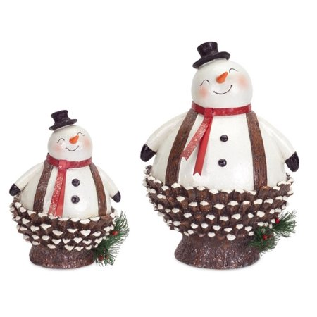 Pack of 4 Jolly Pine Cone Snowmen Table Top Christmas Decorations 8.5