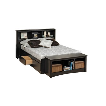 Full Bookcase Storage Bed (Bowery Hill Full Bookcase Platform Storage Bed in Black )