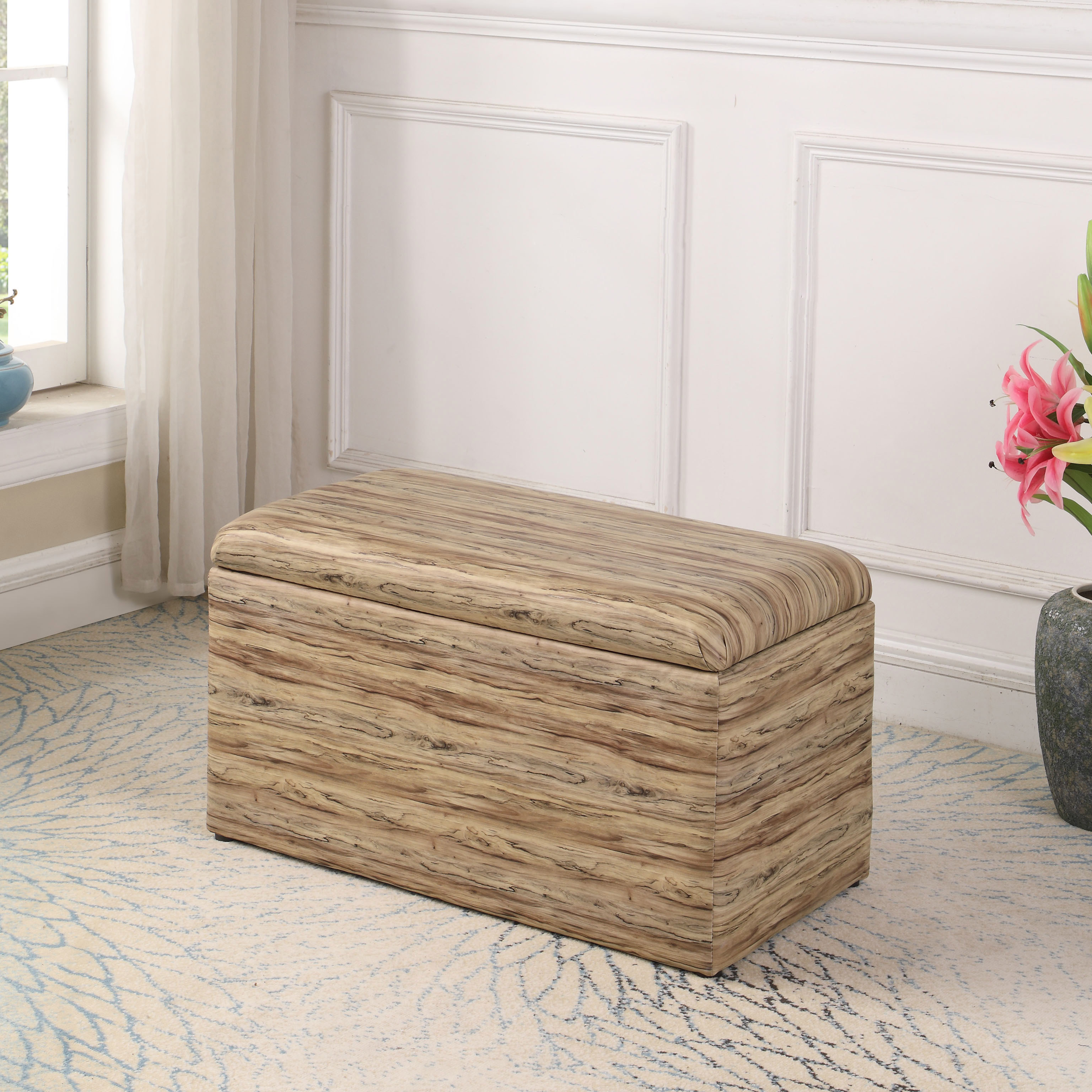 "18"" in Beige Multicolor Leatherette Marble Pattern Storage Ottoman Hidden Tray + 1 Seat"