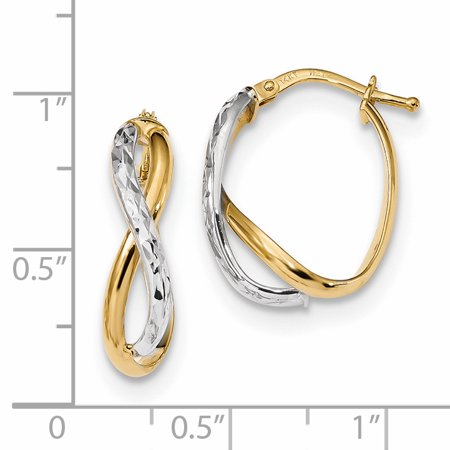 14k Two Tone Yellow Gold Hoop Earrings Ear Hoops Set Fine Jewelry For Women Gifts For Her - image 1 of 6