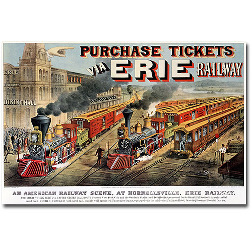 """Trademark Fine Art """"Erie Railway, Homesville"""" Canvas Wall Art by N.Currier and JM Ives"""