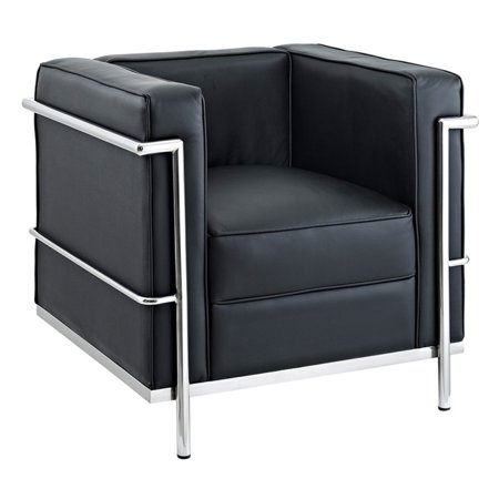 Modway LC2 Leather Armchair with Steel Frame, Multiple Colors ()