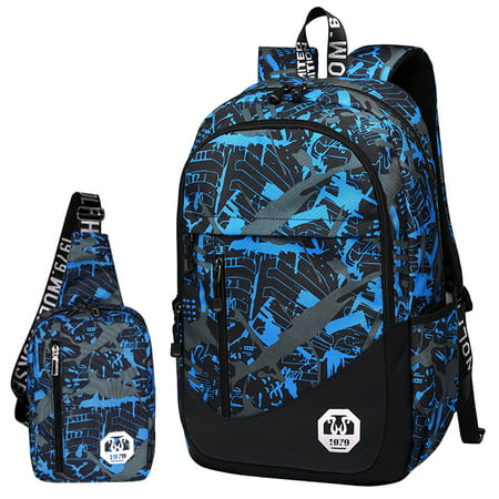 Backpack, 2Pc Oxford School Backpack Book Bag Laptop Bag Sling Bag Set Men's Casual Backpack School College Travel Backpack for Boys (Best Bat For College Baseball)