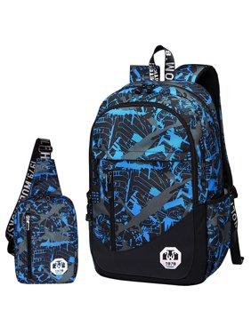 768be8347 Product Image Backpack, 2Pc Oxford School Backpack Book Bag Laptop Bag  Sling Bag Set Men's Casual Backpack