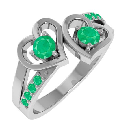 ring diamond gold shaped white emerald and heart in