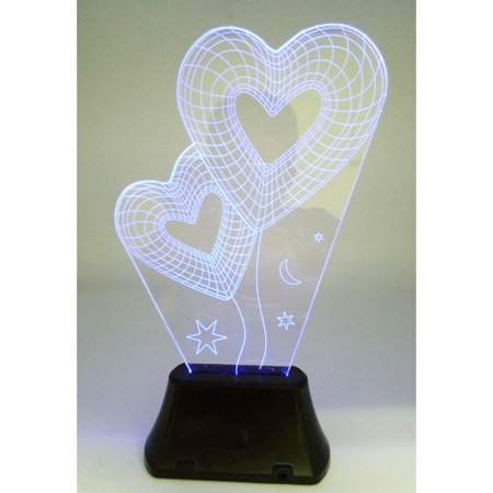 - Creative Motion Battery-Operated 3D Twin Heart Laser Engraved Sculpture