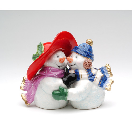 Cosmos Gifts Romantic Snowman Couple Salt and Pepper Set by Appletree Designs Cosmos